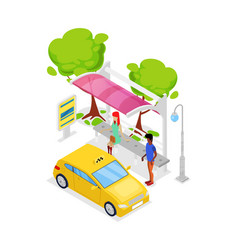Taxi car stop isometric 3d icon vector