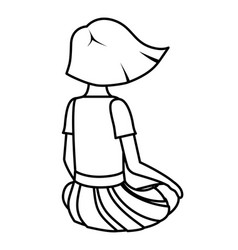 Teenager girl sitting on his back avatar character vector