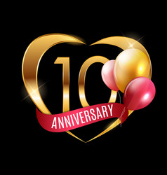 Template gold logo 10 years anniversary with vector