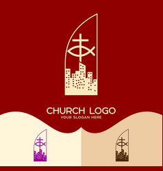 The cross of jesus the sign of the fish vector
