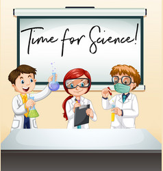 three scientists in lab with phrase time vector image
