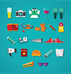 travel amp tourism icon objects set in flat style vector image