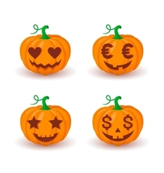 Various pumpkin faces vector