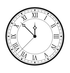 Vintage clock with roman numerals isolated vector