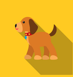 walking the dog icon in flat style for web vector image