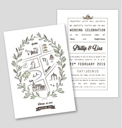Wedding invitation template with map vector
