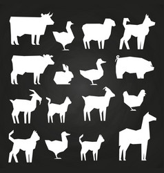 White farm animals silhouetes icons on black vector