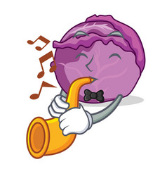 With trumpet red cabbage mascot cartoon vector