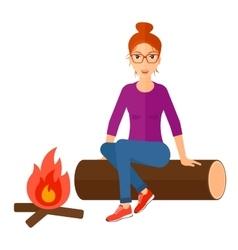 Woman sitting at camp vector