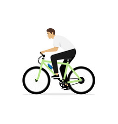 young man rides on bike isolated vector image