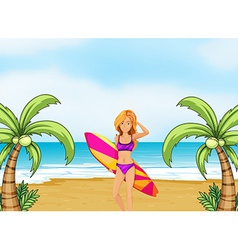 A female surfer at the beach vector image vector image