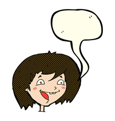 cartoon happy girl with speech bubble vector image vector image