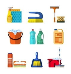 Cleaning icons set with mop soap and gloves vector