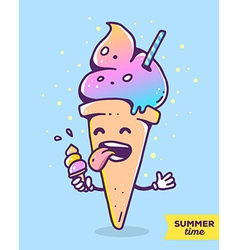 colorful of gradient character ice cream wit vector image