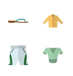 Flat garment set of trunks cloth banyan beach vector