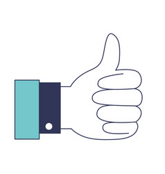 hand thumb up icon in blue color sections vector image vector image