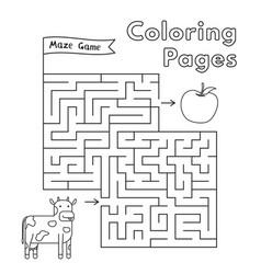 cartoon cow maze game vector image vector image
