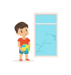 cute little bully boy crashed the window with ball vector image vector image