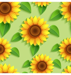 Floral seamless pattern with 3d sunflowers vector