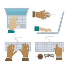 hands typing on laptop and computer keyboard vector image