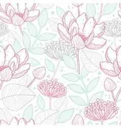 modern line art florals seamless pattern vector image