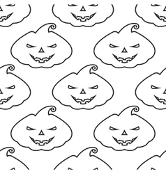 pattern silhouette pumpkin with scary face vector image vector image