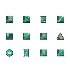 Play billiards stylish flat icons set vector image vector image