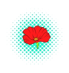 Red poppy flower icon comics style vector image