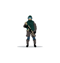 Commando sign police officer in uniform and face vector