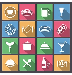dishes and food icons in flat design vector image