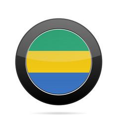 flag of gabon shiny black round button vector image vector image