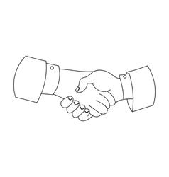 Handshake icon in outline style isolated on white vector