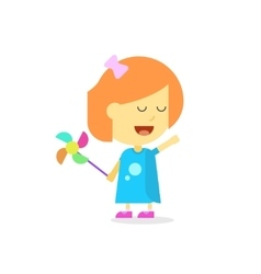 Happy little girl cartoon style isolated flat vector image