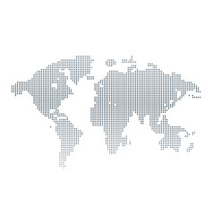 isolated black and white color worldmap of dots vector image vector image