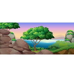 Nature scene with lake and rocks vector