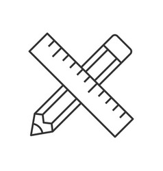 pencil and ruler linear icon vector image vector image