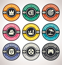Set of Achievement Badges Flat Labels Coll vector image vector image