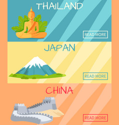 thailand japan china web banner with elements vector image vector image