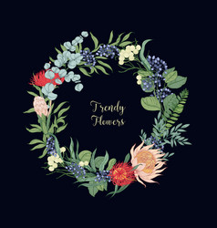 wreath made of trendy beautiful blooming floristic vector image