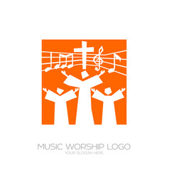 Believers in jesus sing a song of glorification vector