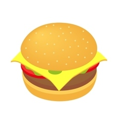Burger isometric 3d icon vector image vector image