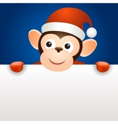 Monkey 2016 christmas new year banner template vector image