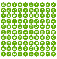 100 patisserie icons hexagon green vector