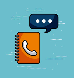 address book contac message call center customer vector image