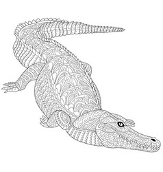alligator crocodile adult coloring page vector image