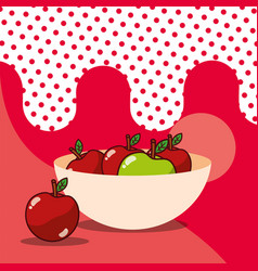 apple in bowl harvest fruit tasty dotted vector image