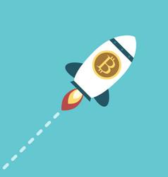 bitcoin space rocket flying vector image