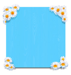 blue wooden board with camomiles vector image