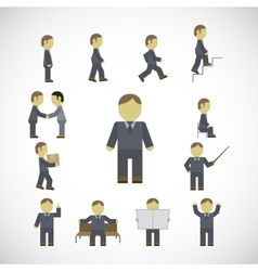Business man activities icons set vector image