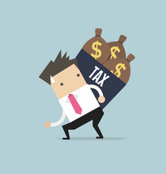 businessman shoulder tax box with money bag vector image